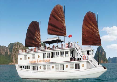 Du thuyền 3 sao Golden Lotus 3 ngày 2 (1 đêm ngủ tầu +1 đêm ngủ khách sạn đảo Cát Bà